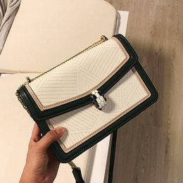 Single Cables Australia - Elegant2019 Bag Snake Spiraea Woman Hit Color Small Square All-match Cable Satchel Single Shoulder Chain Package