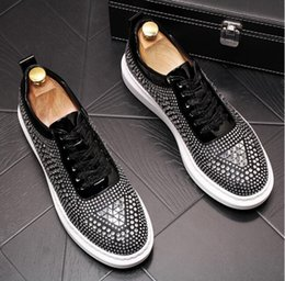trendsetters shoes Australia - New Designer Men Trendsetter glitter rhinestone Trendy Casual thick bottom Shoes Male walking Dress Prom moccasins loafer young Dress shoes