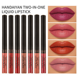 lasting colour lipstick UK - HANDAIYAN TWO-IN-ONE LIQUID LIPSTICK 12 colors long lasting bright coloured lip gloss lip liner