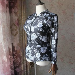 plus size swimwear sleeves UK - Sexy Swimming Suit Black Print Floral One Piece Swimsuit Long Sleeve Plus Zipper Swimwear New Women Bathing Suit Big Size 35yx dd