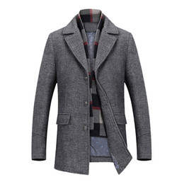 brown coats for men Australia - Wool Coat for Men's Winter Coats Thick Cotton Wool Jackets Male Casual Fashion Slim Fit Long Jacket Scarf Men Outwear Plus Size