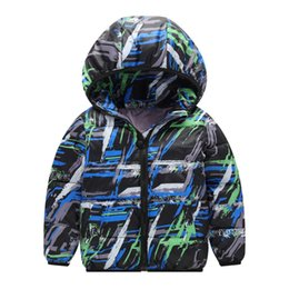 cool baby clothes UK - Autumn Winter Children Boys Girls Printed Thick Hooded Cool Coats Warm Kids Outerwear Cotton-Padded Coats Baby Boy Clothes