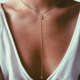 $enCountryForm.capitalKeyWord Australia - Bohemian fashion beach Gold Filled Necklace, Y Layering Necklace, CZ charm Women Necklace Ladies Vintage Necklace Gifts