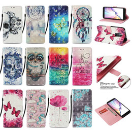 $enCountryForm.capitalKeyWord Australia - 3D Skull Leather Wallet Case For Huawei Honor 20 Pro P20 lite 2019 Galaxy Note 10 Pro Unicorn Flower Dreamcatcher Holder Owl Phone Cover