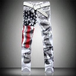 mens flag trousers UK - Mens designer jeans white American flag printing trousers high elastic fit casual stripe large boys pants