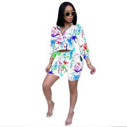 Chinese  Autumn 2 Piece Set Tracksuits Women Sexy Long Sleeve Top Shorts Bodycon Tracksuit Clothing Casual Two Pieces Outfits manufacturers