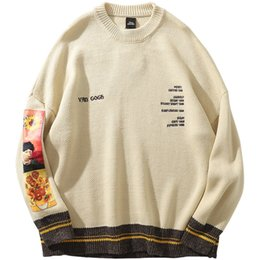 Men coMputers online shopping - 2019 Men Hip Hop Sweater Pullover Streetwear Van Gogh Painting Embroidery Knitted Sweater Retro Vintage Autumn Sweaters Cotton