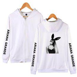 Woman Fans Australia - Ariana Grande 2019 Harajuku Zipper Hoodies Sweatshirts Men Women Fans Hoodies Sweatshirts Clothes Hooded Hip Hop Letter Print Plus Size