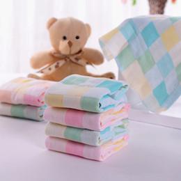 $enCountryForm.capitalKeyWord Australia - Newborn Baby Infant Cartoon Face Hand Bathing Towel Bibs Feeding Square Towels Handkerchief 100% Cotton Gauze Towel