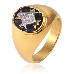 $enCountryForm.capitalKeyWord Australia - Fashion Gold Color Male Female Masonic Ring Casting Titanium Stainless Steel Freemasonry Cross Knights Templar Masonic Rings Jewelry
