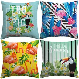 $enCountryForm.capitalKeyWord Australia - Tropical Summer Birds And Flowers Cushion Covers Bird Flamingo Toucan Parrot Plants Cushion Cover Bedroom Linen Cotton Pillow Case