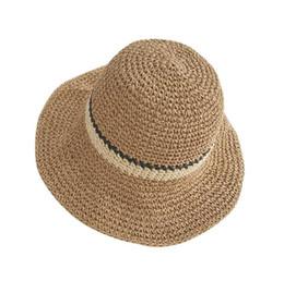 Plain Paper Print NZ - 2019 fashion new wild trend hot paper straw hat female big summer outdoor striped beach hat DIY woven sunscreen sun hat
