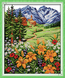 $enCountryForm.capitalKeyWord Australia - Snow Mountain in spring Scenery Home decor painting ,Handmade Cross Stitch Embroidery Needlework sets counted print on canvas DMC 14CT  11CT