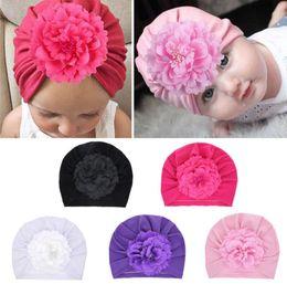 Newborn Flower Hats Australia - New Fashion Flower Baby Hat Newborn Elastic Baby Turban Hats for Girls Cotton Infant Beanie Cap 5 colors