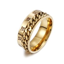 chain finger rings Australia - Men Gold Black Silver Blue Chain Rotatable Ring Roman Numerals Finger Movable Spin Chain Band Rings Jewelry Gifts High Grade Size 6-12