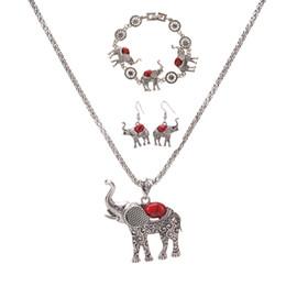 Venda quente europeu e americano exagerado jóias Posimiasson elefante conjunto colar pulseira brincos conjunto de três peças atacado em Promoção