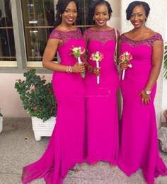 Navy blue hot piNk bridesmaid dress online shopping - 2019 new african Fuchsia Long Mermaid Bridesmaid Dress Sheer Neck chiffon Cheap African Maid of Honor Gowns Hot Pink Wedding Guest Dresses