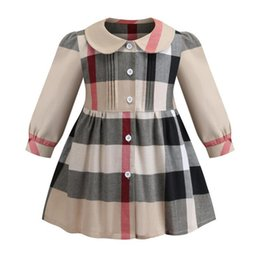 $enCountryForm.capitalKeyWord Australia - New Autumn Fashion Girls Dress European and American Long Sleeved Classic Plaid 100% Cotton Dress Baby Dress