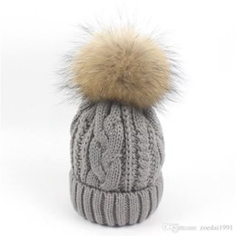 74c8064e46566c Winter Autumn Knitted Hat warm fleece Beanie Pompom Kids Children Skiing  Hats Raccoon fur Ball baby boys and girls caps