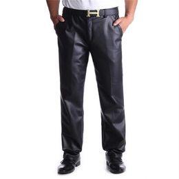 faux leather bootcut pants 2019 - Plus Size Pu Pencil Pants Male Oversized Plus Velvet Thick Leather Trousers Stretch Pant Winter Pantalones Warm Pu Panta