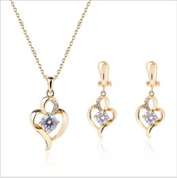 $enCountryForm.capitalKeyWord Australia - Fashionable Exquisite Zircon Heart Necklace Earrings Jewelry Sets For Valentine's Day Best Gift min order 12sets 61152282