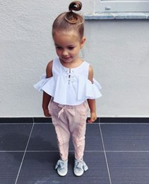 $enCountryForm.capitalKeyWord Australia - New children's clothing set girls summer fashion explosion models word shoulder white strapless shirt + pink wooden ear trousers