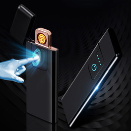 Quality lighters online shopping - High Quality Metal USB Electronic Lighter Windproof Flameless Ultra thin Rechargeable Touch sensitive Electric Lighters