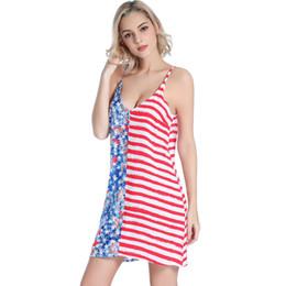 $enCountryForm.capitalKeyWord Australia - Europe and the United States new sexy deep V back strap rayon swim skirt loose seaside printed beach skirt American flag VB019