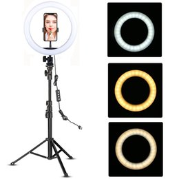 Discount selfie tripod stand heap Photographic Lighting LED Ring Light 10-inch with Tripod Stand Selfie Ringlight Video Photpgraphy Lamp for Youtube