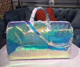 $enCountryForm.capitalKeyWord Australia - Luxury Classic Laser Flash Pvc Designer Handbags 50cm Transparent Duffle Bag Brilliant Colour Luggage Travel Bag Crossbody Shoulder Handbag