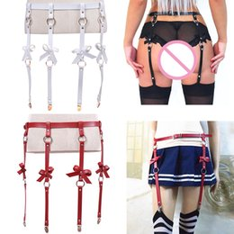 e6be2aa11 Sexy Bow Handmade Punk Costume Outfit O-Round Waist Belt With 4 Suspenders  Women Men Leather Waist Garter Belt For Stockings