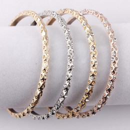 silver gold cuff bracelet NZ - Pave Crystals Vintage Gold Rose Gold Silver Tone Bangle Sets Criticize Flower Women Cuff Bangle Bracelets