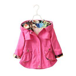 Girls 4t Denim Jacket UK - Children Girls Jacket Hooded Waist Cotton Kids Outerwear Baby Girl Coats 2-7 Years Long Windbreaker Jacket For Little Girl