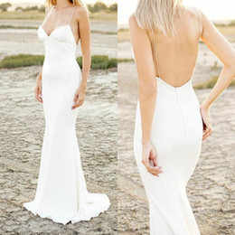 $enCountryForm.capitalKeyWord UK - Ivory Satin Mermaid Wedding Dress Backless Spaghetti Strap Plunging V Neck Sexy Simple Beach Bridal Gown Modest Dresses for Bride