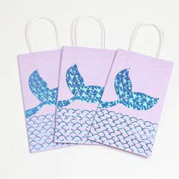 Wholesale Boxes Packaging Australia - Unicorn Mermaid Tail Package Bags Designer Handbag Candy Treat Paper Box for Baby Shower Birthday School Party Event Promotion Gifts A51701