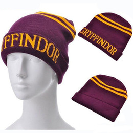 $enCountryForm.capitalKeyWord Australia - Harri Potter Stripes Knit Hat Cap Cosplay Action figure toys Halloween Gift Slytherin Gryffindor Ravenclaw Hufflepuff Hat