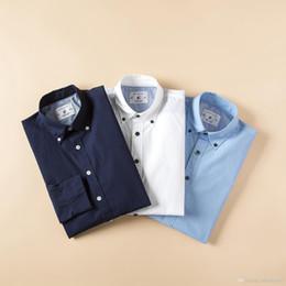 $enCountryForm.capitalKeyWord Australia - Nice Mens Slim Fit Dress Shirt 3 Colors Male Branded Long Sleeve Turn Down Collar Shirts Classic Embroidery Designs