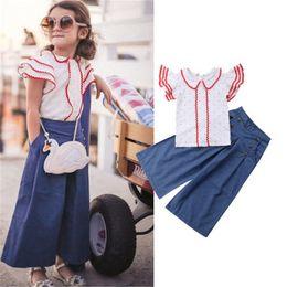 Toddler legging seTs online shopping - Cool Toddler Girls Clothes Short Swings Sleeve Shirt Tops Long Denim Wide Leg Blue Pants Trendy Princess Outfit Summer Set