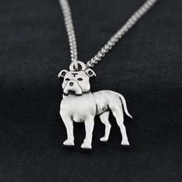 Vintage brass animals online shopping - Vintage Floppy Ears Staffordshire Bull Terrier Pit Bull Charms Dog Necklaces For Women Stainless Steel Chain Necklace Men Party Gift