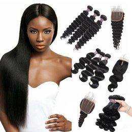 "Discount brazilian human hair 28 inches - 8-28"" Brazilian Body Wave 3 4Bundles With 4x4 Lace Closure 100% Unprocessed Virgin Hair Extensions Deep Wave Human"