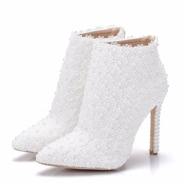 ee873ec6a2b Leather Boots Women High Heels Ankle Boots Pointed Toe Pearls Lace Wedding  Shoes Spring Autumn Pearl Heeled White Short Boots