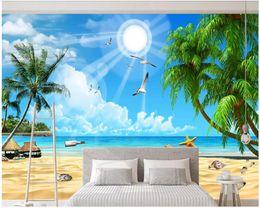 CoConut deCor online shopping - WDBH d wallpaper custom photo Blue sky white clouds beach coconut tree landscape home decor d wall murals wallpaper for walls d