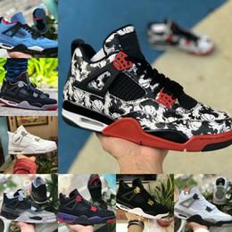 eef75619f2b89 Haute Qualité 2019 Nouveau 4s Tatouage Noir Blanc Ciment Graffiti Cactus  Jack Raptors Chaussures De Basket-ball Hommes Pas Cher 4 Kaws Royalty Bred  Sneakers