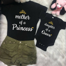 mother daughter matching top Canada - Mother Daughter Women Mom Top Kids Girls Tee T Shirt Romper Clothes Outfits Family Matching Outfits Letter Pattern Type