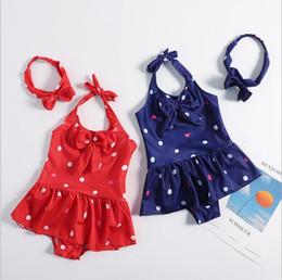 Two Piece Toddler Swimsuit Canada - 2019 kids swimwear Baby Swimsuit With hair Bow kid bikini ruffle Dot Heart One-Pieces Princess Bathing Suits Suit toddler beach bikini