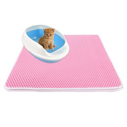 Chinese  5 Colors Waterproof Pet Cat Litter Mat EVA Double Layer Cat Litter Trapping Pets Mat Pad Bottom Non-slip Floor manufacturers