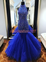 pictures celebrities NZ - Real Picture High Neck Beaded Mermaid Evening Dresses African Royal Blue Formal Guest Dress Pageant Celebrity Plus Size Prom Party Gowns