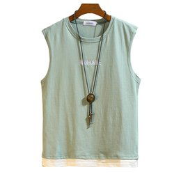 Mens Sleeveless Tank Tops Australia - Mens Tank Tops Shirt Cotton Sleeveless Top Men Vest Fashion 2019 Loose Green Camiseta Tirantes Hombre Fitness Clothes Men