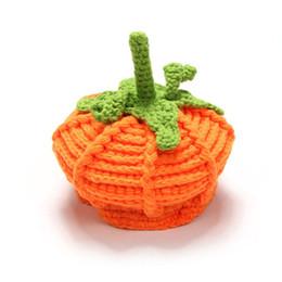 BaBy girl knitting Beret hat online shopping - Baby Pumpkin Hat Newborn Photography Props Pumpkin Handmade Kids Hats Boys Girls Halloween Crochet Knitted Caps hot GGA2741