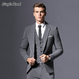 zipper pants for boys NZ - Single Road Suit Men 2019 Slim Fit Tuxedo Male Suits for Wedding Latest Coat Pant Designs Suit Dress Boys Groom Set SR17